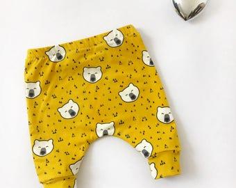 Mustard pants, Bear pants, mustard yellow pants, baby leggings, baby boy leggings, mustard leggings, boy leggings, girl leggings