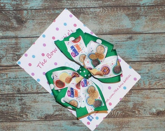 "Girl Scout Bow, Brownies Bow, Cookie Bow, Girl Scouts Uniform, Pinwheel Bow, 4"" Hair Bow, Girl Scouts Theme, Stacked Bow"