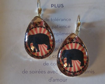 """Elephant"" drop shape earrings"
