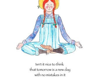 Anne of Green Gables note card, Anne of Green Gables teacher gift, Anne of Green Gables does yoga, Anne Shirley, Anne Shirley card,