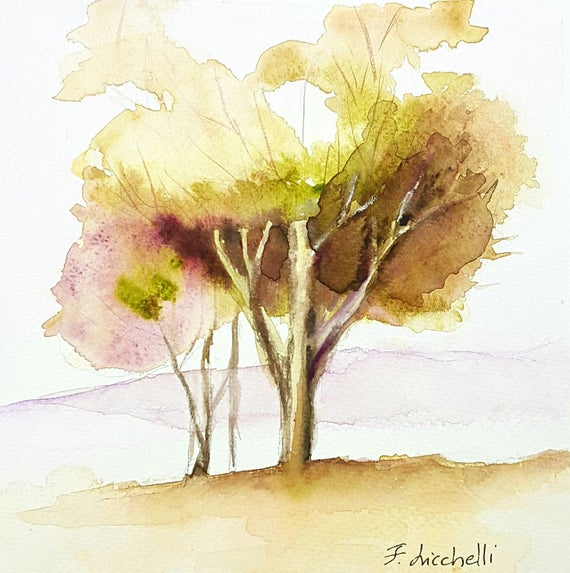 Watercolor,tree,landscape,copy,ooak,one of a kind,20x20 cm./8x8 Inc.,Wall art,living, bedroom, lounge,gift idea, birthday, Christmas.