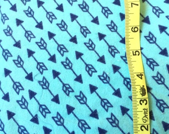 Arrow Fabric Flannel for Sale -  Tribal Fabric Flannel by the Yard - Turquoise and Navy Blue Fabric - Blue Cotton Fabric Cotton By the Yard