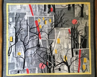 Handquilted MidCentury Cityscape Barkcloth Wall Art