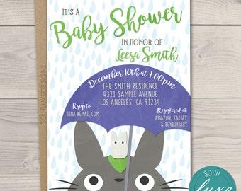 Totoro Baby Shower Invitation, 5x7, rain, blue, my neighbor totoro, white totoro, cute baby shower, anime, cartoon, chibi