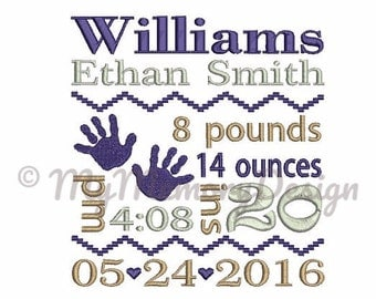 Baby embroidery birth announcement TEMPLATE girl and boy machine embroidery - Fill stitch embroidery -INSTANT DOWNLOAD -3 size- 4X4 5X7 6X10