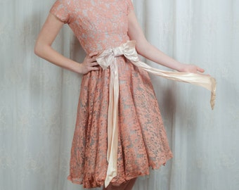 1950s Sweet Pink and Blue Party Dress - Small