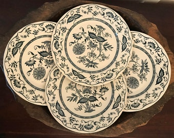 Vintage Cavalier Ironstone 10 Inch Blue & White Dinner Plates with Blue Onion Floral Pattern Set of 4 | Made by Royal China