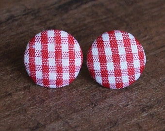 Red Gingham Fabric Button Stud Retro Earrings