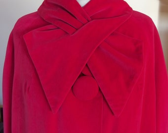 Red Velveteen Full Length Evening Coat Jacket 1960s