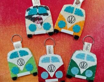 FREE SHIPPING Vw camper van westfalia furgoneta keychain portachiavi llavero felt original gift  ornament purse detail keyring personalized