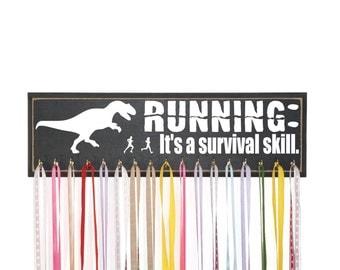 Funny Running Medal Holder With Dinosaur, Running: It's a survival skill, Race Medal Display, Running Medal Display