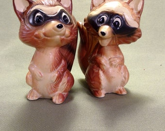 Vintage Raccoon Salt and Pepper Shakers Made in Japan