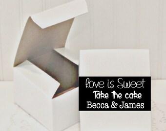 CAKE SLICE BOXES, Set of 10 Personalized Favor Boxes, Wedding Cake Favors, Donut Favor Box, Treat Boxes, Party Favor Box, Dessert Boxes
