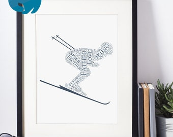 Printable Personalised Ski Gift | Personalized Word Art for Birthday | Print Yourself | Skier Gift | Skiiing Gift | Father's Day