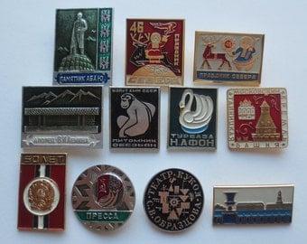 Different Soviet badges, badges, pins, on sale badges, brooch