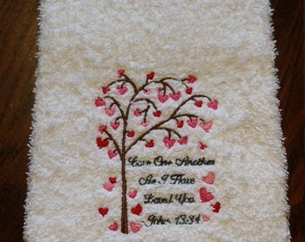 Love One Another Heart Tree-Hand Towel
