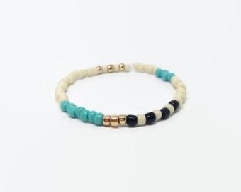 Turquoise Bead Bracelet, Elastic Beaded Bracelet, Roll on Glass Bead Bracelet, Stripes Bracelet, blue slip on bracelet, blue layer bracelet