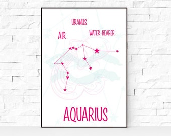 AQUARIUS art, Zodiac constellation print, Aquarius constellation art, Watercolor zodiac aquarius print, Pink wall print, Zodiac star sign
