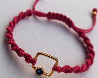 Bracelet, Made in Greece, Macrame bracelet, Charm bracelet, Evil Eye bracelet, Handmade, Greek jewelry, Gold