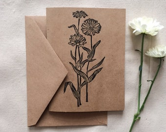 Linocut 'Daisies' gift card