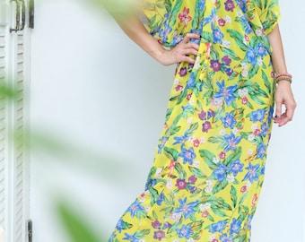 Yellow Flower Chiffon Beach Dress Swimsuit Bikini Cover Up | Casual Maxi Short Sleeve Dress | Spring/Summer Dress