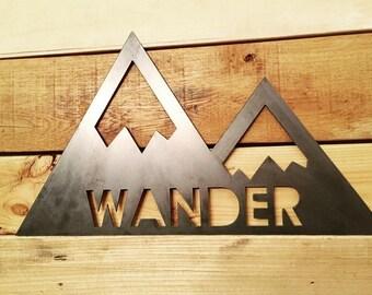 Rustic Metal Wander Mountain - wall hanging