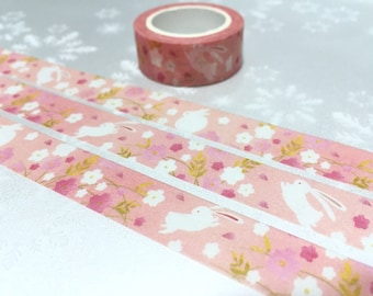 White Rabbit washi tape 7M cute bunny easter rabbit pink sticker tape flower garden rabbit decor rabbit theme masking tape rabbit label