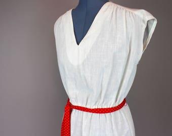 70s Vintage Linen Summer Dress
