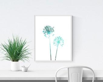 Aqua Blue Dandelion Flower Print, Minimalist Watercolor Botanical Print, Wall Art Print, Floral Art, Scandinavian Style Home Decor