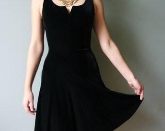 Vintage Black  Velvet Dress, Black Sleeveless Cocktail Dress, Black Party Dress, Size S/M