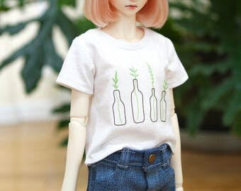 BJD SD Girl Plant Boxy T Shirt - White