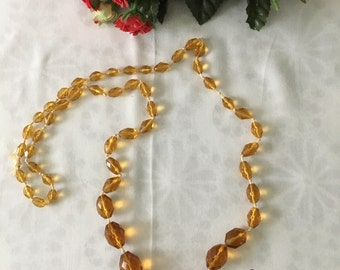 1930's Amber Faceted Glass Necklace