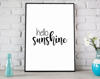 Hello Sunshine Print, Summer Printable Art, Digital Print, Instant Download, Black & White, Modern Home Decor, Happy Summer Print - (D071)