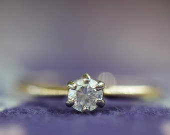 14K Yellow Gold Approx. 0.28ct Diamond Solitaire Antique Engagement Ring, US Size 7.25, Used Vintage -s029-