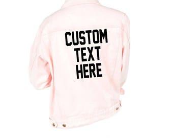 CUSTOM TEXT Pink Pastel Denim Jacket- Button Front Personalize Denim Jacket- Gift for Her- Light Pink Outerwear Denim Jacket-Design Your Own