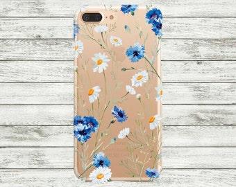 iPhone 7 plus Case clear iPhone 7 Case, iPhone 6 / 6s / 6s Plus Case, iPhone 5s / 5 / SE Case, Flowers transparent blue iPhone case.