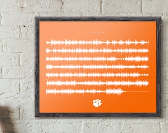 Clemson Tiger Rag Sound Wave PRINT & HANDCRAFTED Custom Frame | The Song That Shakes The Southland | Clemson Fight Song