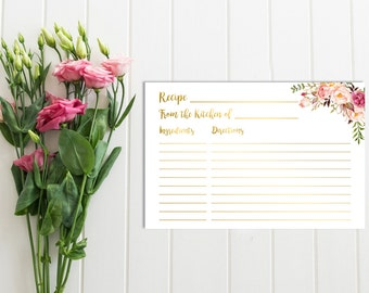 Gold Boho Recipe Card, Printable Floral Recipe Card, Floral Boho Recipe Card, Gold Floral Recipe Card, Bridal Shower, Instant Download 109-G