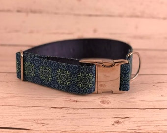 MADE TO ORDER- Green & Blue Kaleidoscope Dog Collar, Choose width- Buckle or Martingale- add Embroidery and/or Leash