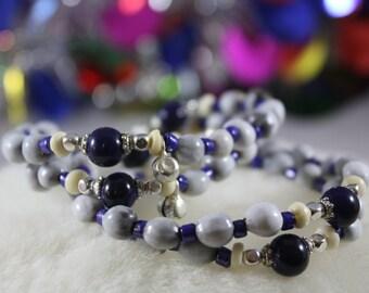 Women's Beaded Bracelet, Job's Tears Seed Beads, Indian Silver Bead Caps, Indian Horn Beads, Japanese Seed Beads, Steamboat Bracelet