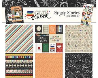 Simple Stories Old School 12x12 Simple Set, Scrapbook Paper, Paper Kit, School Paper, 12x12 Paper, Card Making Paper, Simple Stories Paper