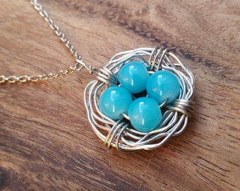 Bird's Nest Necklace Mother Pearl Wrapped Handmade