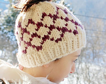 Fair Isle Bun Hat, Bun Toboggan Beanie, Girls Messy Bun Hat,  Bun Hole Hat for Girls, Tweens, Teens, Women, Chunky Knit Messy Bun Hat