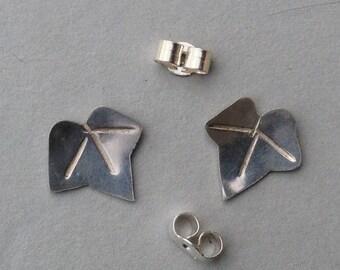 Ivy leaf stud earrings - sterling silver