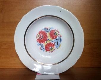 Vintage Porcelain Plates, Floral  Dish, Retro Dinner Plates, Dessert Plate, Plate Salad, Soviet Ceramic Plate, Rustic Cottage Chic Decor