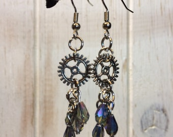 Silver Steampunk Earrings
