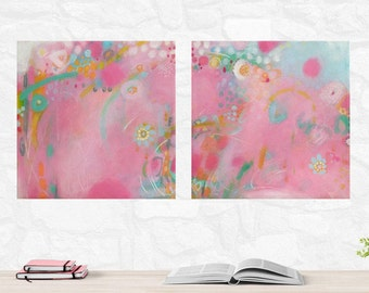 Set of Two Pink and Mint Abstract Paintings Pink and Mint Girls Room Decor Pink Nursery Decor Original Small Pink Abstract Set of Paintings