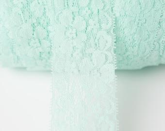 2 inch aqua Elastic lace, elastic by the yard, mint lace fabric, stretch elastic headband, elastic hair ties, wholesale elastic lace trim