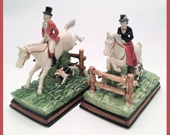 Rare Pair of Fitz & Floyd Fox Hunting Bookends from the Equestrian Series, ca. 1970's