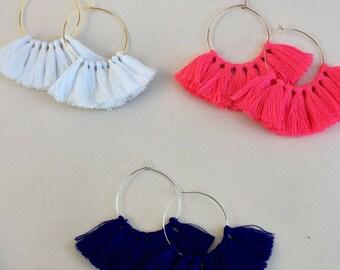 Pick Color(s)/ Mini Tassel/ 1.75 inch Hoop/ Gold Hoop/ Rose Gold Hoop/ Silver Hoop/ Tassel Earring/ Hoop Earring
